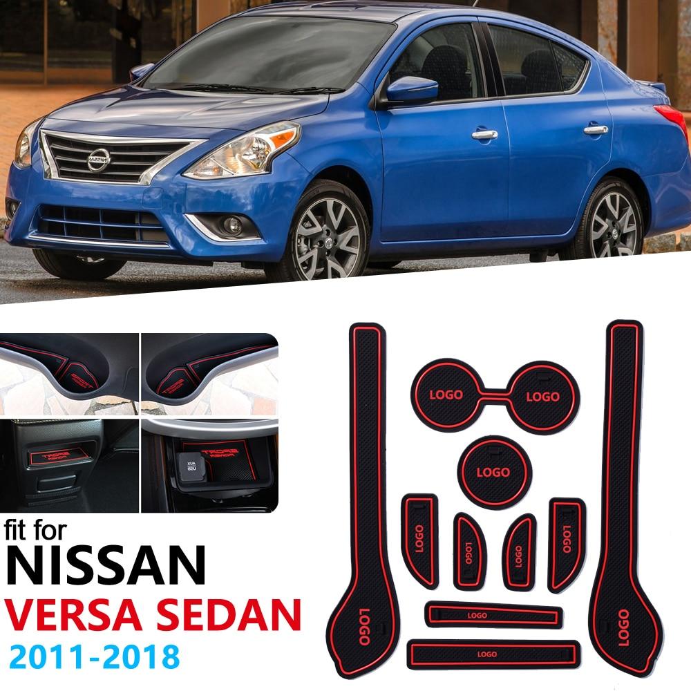 Anti-Slip Rubber Gate Slot Cup Mat For Nissan Versa Sedan N17 2011 2012 2013 2014 2015 2016 2017 2018 Door Groove Mat Accessorie