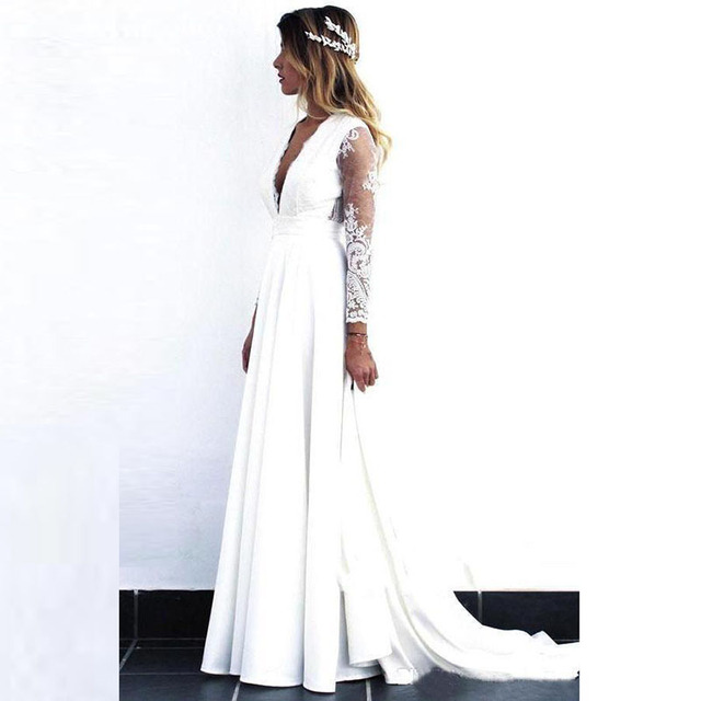 2021 Wholesale Charming White Long Sleeve Bridal Wedding Gowns Lace Deep V Neckline Wedding Dress for Bride Cut Out Back A Line 2