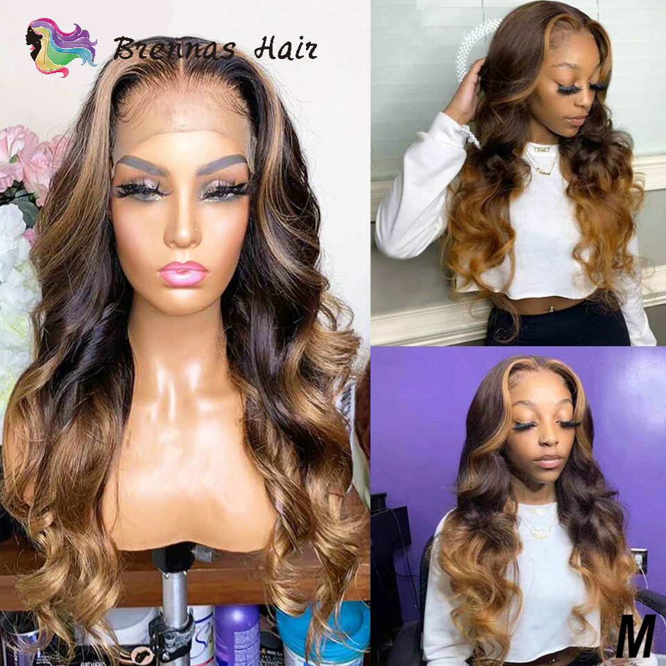 13*6 Deep Part Lace Front Wigs Body Wave Highlight Lace Front Human Hair Wig Brazilian Honey Blond Highlight Wig Remy Hair Women