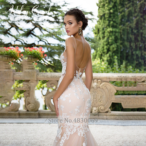 Image 4 - Ashley Carol Invisible Neckline Mermaid Wedding Dresses 2020 Sexy Backless Bride Dress Romantic Lace Appliques Wedding Gowns