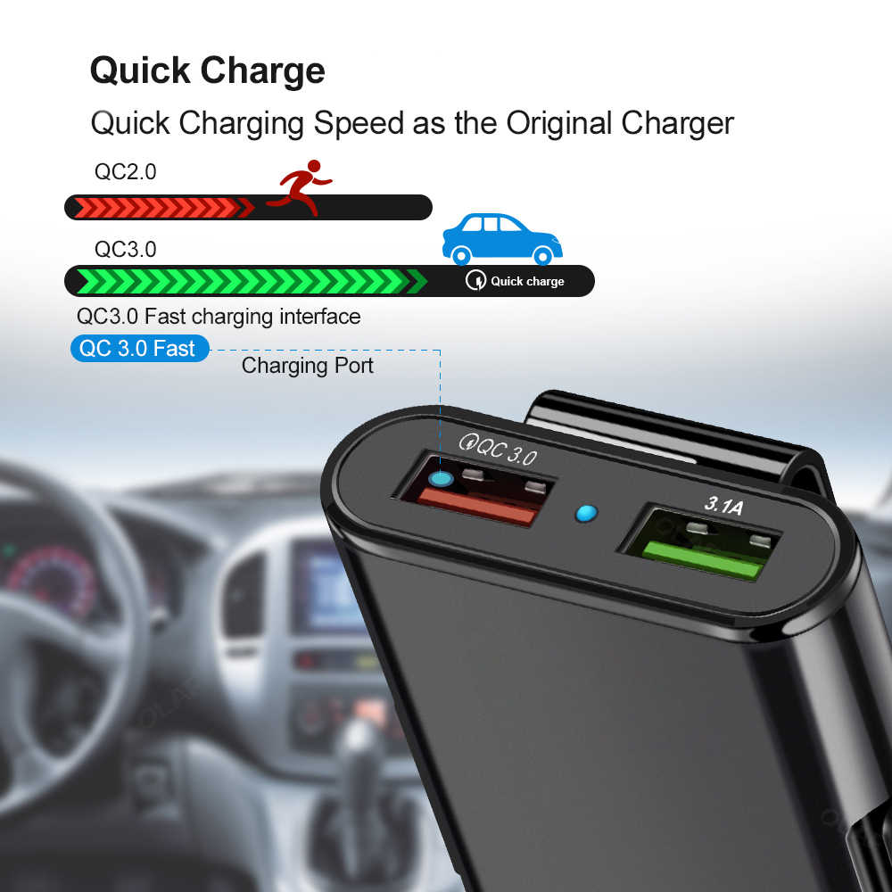 60W 4 Port QC 3.0 Charger Mobil Pengisian Cepat 3.0 Telepon Mobil Cepat Depan Belakang Charger Adapter Mobil Portable charger Plug untuk iPhone