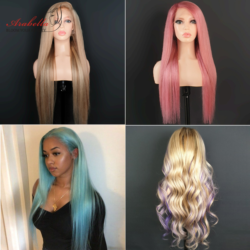 613 Lace Frontal Wig 100%  Wigs Arabella Long Straight Wig Pre Plucked 13x4   Blonde Bob Lace Front Wig 3