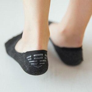 Image 2 - 5 paires femme été coton cheville chaussettes femme absorbant la sueur décontracté femmes Invisible bateau chaussettes anti dérapant broderie Sox NSB0605