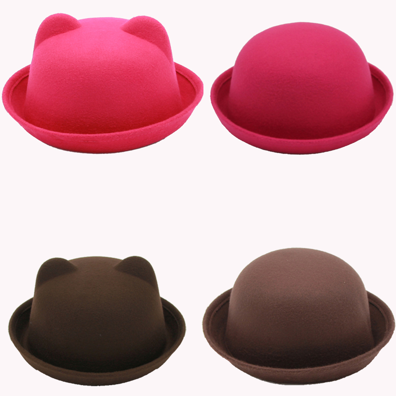 2020 Newest Fashion Parent-child Bowler Hat Wool Felt Fedora Hats For Women Girls Children Solid Cat Ear Formal Cap Trilby