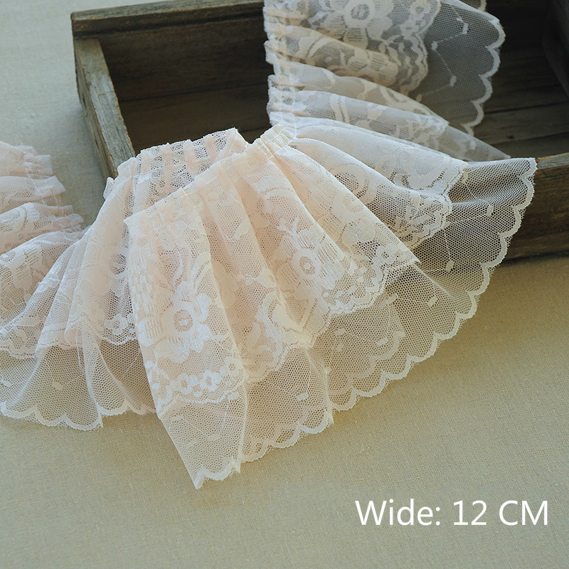 12CM Wide HOT Embroidery Pink Flower Tulle Lace Fabric Trim Ribbon DIY Sewing Ruffle Applique Collar Dubai Dress Guipure Decor