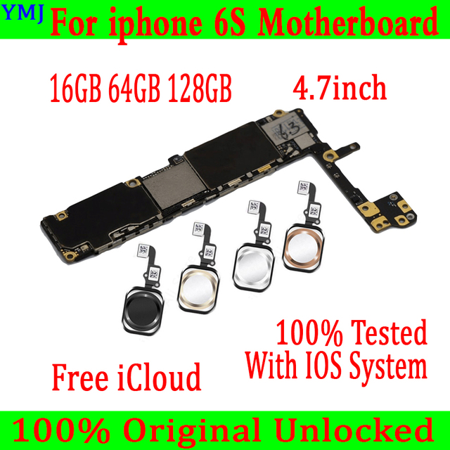 Full unlocked for iphone 6S 6 S Motherboard With/Without Touch ID,Original for iphone 6S Mainboard with Full Chips,16GB 64G 128G
