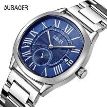 Новинка 2020, модные мужские часы OUBAOER, Классические роскошные Спортивные кварцевые наручные часы ведущей марки из нержавеющей стали, мужские часы