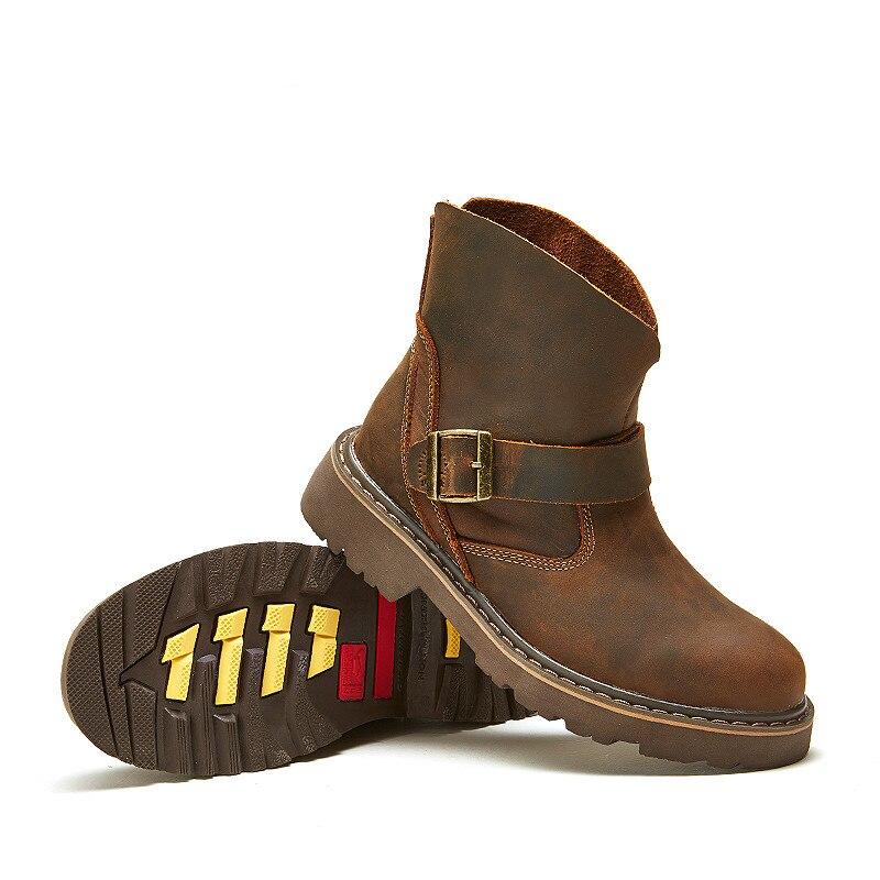 Водонепроницаемые ботинки в байкерском стиле; Мужские ботинки в байкерском стиле с черепом; армейские ботинки; Кожаные Ботинки martin в стиле ... - 4