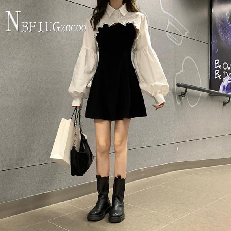 Fashion Short Blouse And Dress Women Sets S XL Female Sets