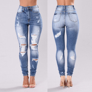 Women Denim Skinny Trousers Ripped Jeans For Women Hole Vintage Pencil Pants High Elasticity Stretch Trousers Plus Size 3xl#3