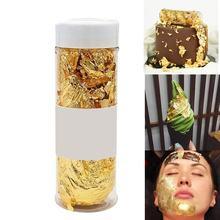 Grau comestível folha de ouro floco 2g pastelaria cozinhar bebida comida sobremesa bolo sorvete decoração segurança rosto beleza máscara folha de ouro