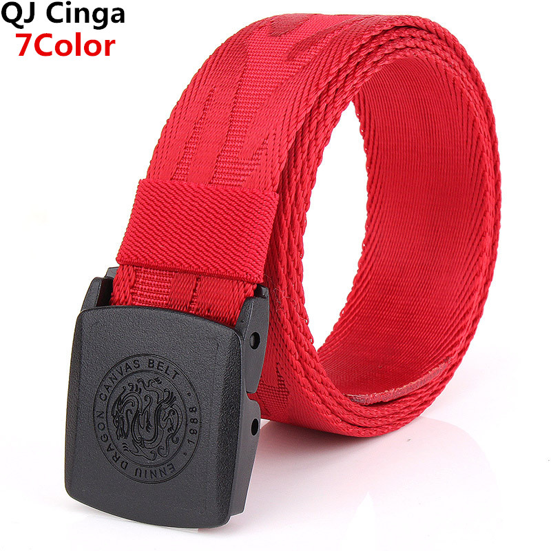 Red Jacquard Dragon Pattern Canvas Belt Men's Plastic Buckle Fashion Hot Sale Belt Black Blue Green Khaki Cinturon 100cm-125cm