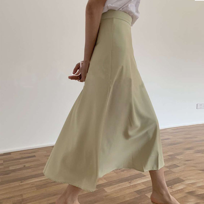 Summer Silk Skirts Solid Color High Waist Midi Skirts Womens A-line Bottoms Faldas Korean Streetwear