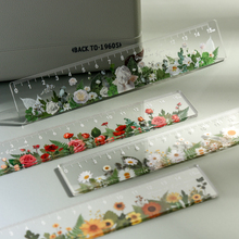 1pcs/set 15cm Daisy rose Ruler Multifunction DIY Drawing Tools Student flower Rulers Double-duty School Office Supplies