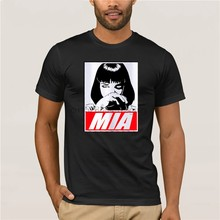 2019 Yeni Mia Wallace Bask T shirt Kad n S cak Film hamuru Kurgu komik ti