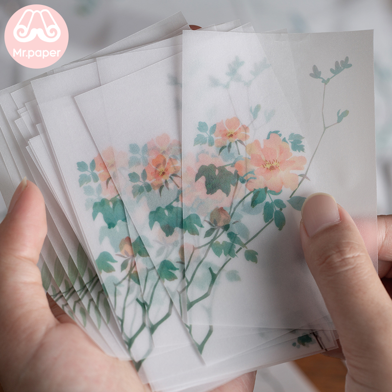 Mr paper 30 Pcs Creative Chinoiserie Artsy Leaves Writing Note Plants Flowers Memo Pads Transparent Paper Loose Leaf Paper 4