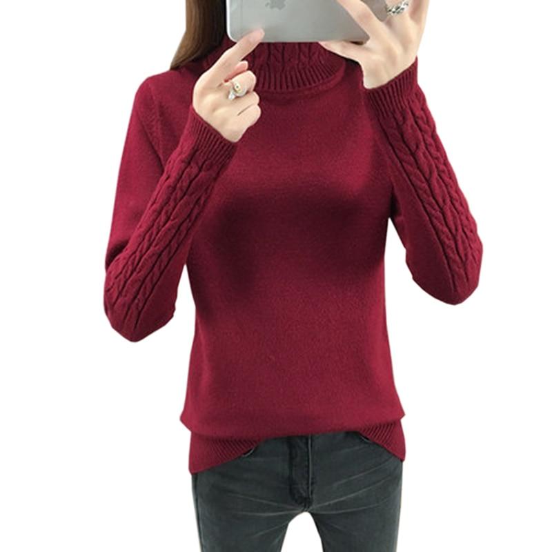 Pull tricoté à col roulé en cachemire pour femme, chandail à manches longues, style coréen, collection automne-hiver 2020