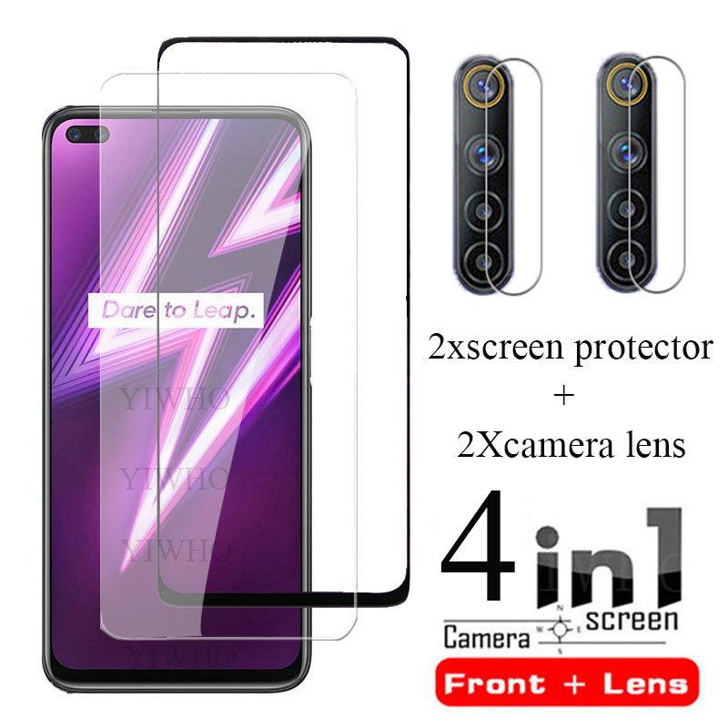 4 IN 1 OPPO Realme için 6 Pro cam ekran koruyucu Realme için 6i 6i Film koruyucu temperli kamera len cam filmi Realme6i