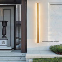 Modern IP65 Waterproof outdoor lights stainless steel Long LED wall lamp Gold Light Garden porch Sconce luminaire exterieur