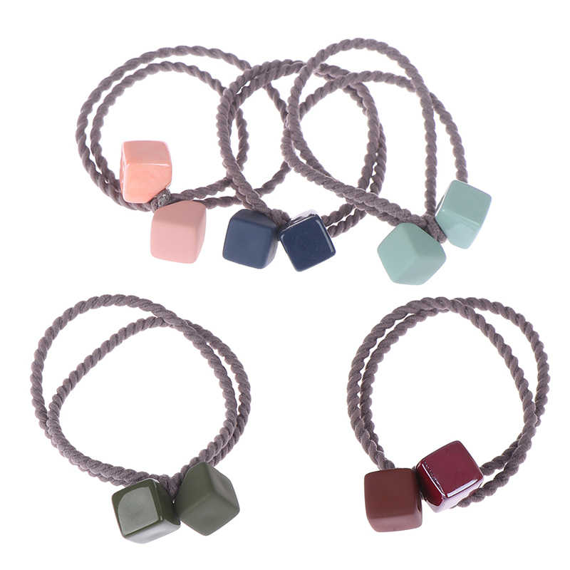 1PCS Cute Rubber Color Hair Rope Square Hair Ring Head Rope Tie Hair Rubber Band Simple Hair Accessories  Baby Headwear