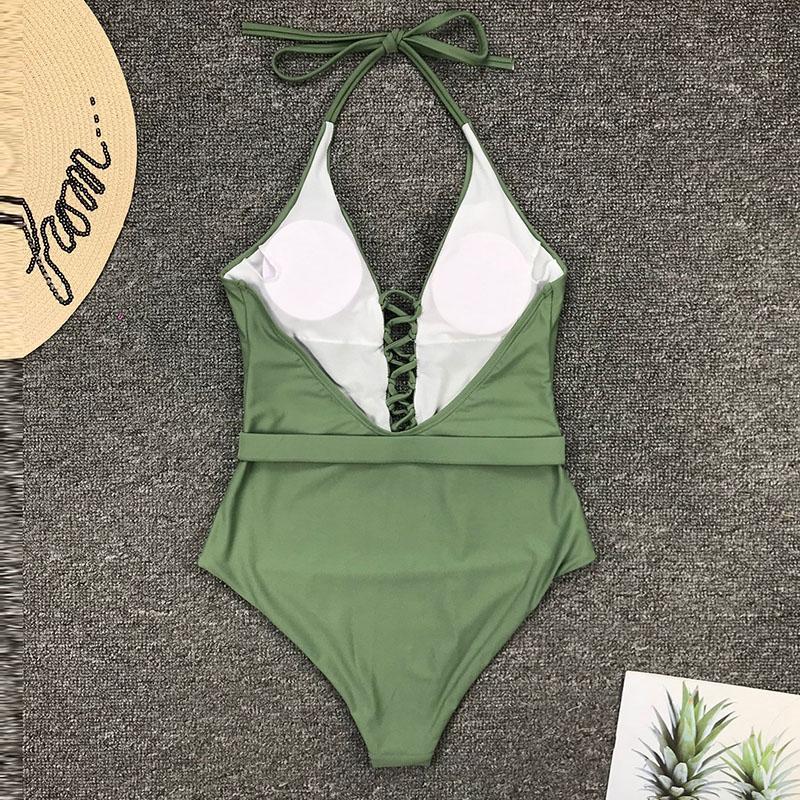 Одноцветный купальный костюм с бретельками, модель 2020 года, сексуальный купальник для женщин, с поясом, с высокой посадкой, пляжная одежда, u-... 55