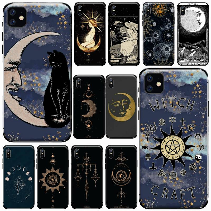 Witches moon Tarot Mystery totem Phone Case For iphone 7 8 12 11 XR XS pro Max Mini plus Soft silicone cover shell funda