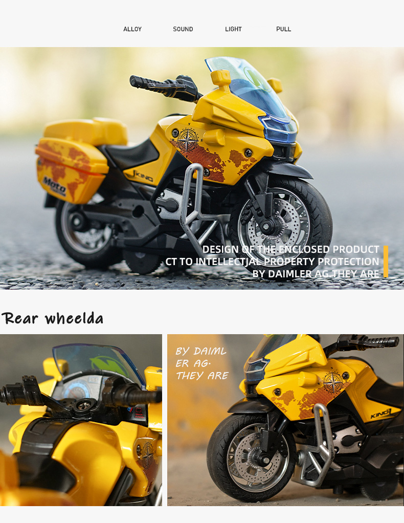 Motorcycle model Die-casting motorcycle with light and music  Toy car / Color Optional Toy gifts on Christmas Eve Ratio 1:14 5