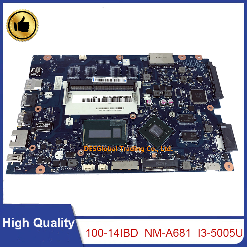 For Lenovo 100-14IBD 100-14IBY 100-15IBY Laptop Motherboard I3-5005U <font><b>SR27G</b></font> CG410/CG510 NM-A681 Mainboard 100% Test Fast Shipping image