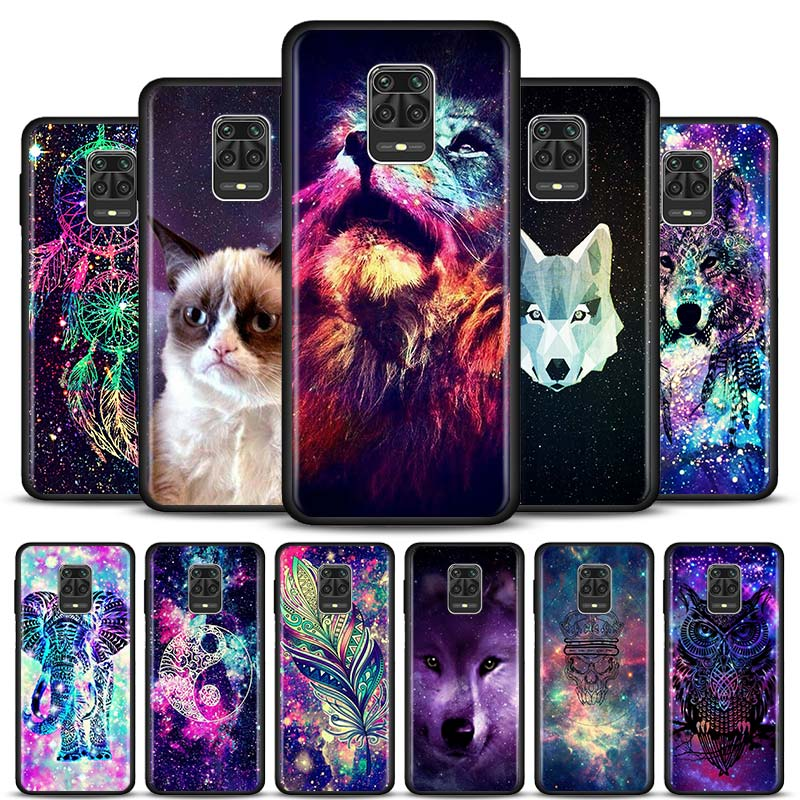 Space Tribal Wolf owl Phone case for Xiaomi Redmi Note 7 8 9 Pro 8T 9S 6 6A 7A 8A 9A 9C K20 K30 Pro Black Silicone Soft Cover(China)