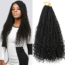 """Saisity 22"""" 12 Roots With Curly End Extensions Omber Goddess Box Braids Crochet Synthetic Bohemian Messy Box Braids Crochet Hair cheap Low Temperature Fiber CN(Origin) Marley Braids 12strands pack Ombre"""