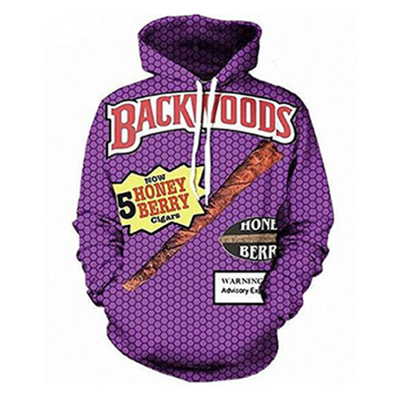 Funny Foods Backwoods Honey Berry 3D Print Fashion Hoodies Womens Mens Casual Hooded Sweatshirt Dropshipping Wholesale Custome