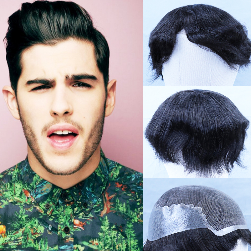 YY Wigs #1B Natural Black Human Hair Men's Toupee Swiss Lace & PU Remy Hair Replacement System 4x4-9x10 6 Inch Wig For Men