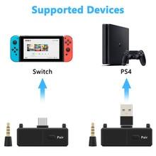 Bluetooth 5.0 kablosuz AV alıcısı vericisi EDR A2DP düşük gecikme tip c USB c Stereo kablosuz adaptörü için Mic ile Nintendo anahtarı PS4 TV PC
