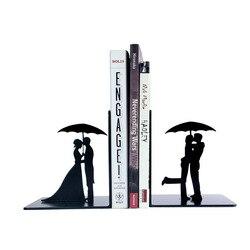 Une pièce créatif amant tenir parapluie métal serre-livres étagère serre-livres fournitures de bureau décoration de la maison livre Stand