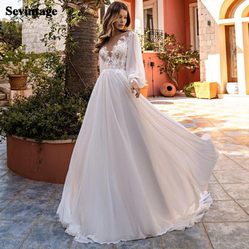 Sevintage Chiffon Long Puff Sleeves Wedding Dress Boho Appliques Lace Beach Bride Gowns O-Neck Court Train Bridal Party Dress sevintage 2020 v neck chiffon boho wedding dresses lace applique garden beach bridal gowns split side bride dress vestidos
