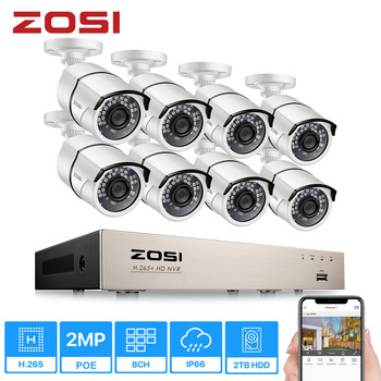 ZOSI 1080p PoE Home Security Camera System,8CH 5MP H.265+ PoE NVR Recorder and (8) 1080p Surveillance Bullet PoE Network Camera