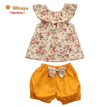 Baby Girls Summer Clothing Set Floral Shirt Short Sleeve Flower Tops + Shorts Pants 2pcs Set Clothes Outfits Fashion 2pcs fashion toddler baby girls summer short sleeve tops t shirt denim hole roses floral dress skirt summer outfits clothes set