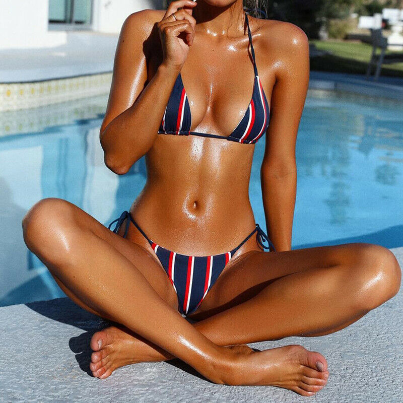 New 2020 Summer Women Push-up Padded Bra Bandage Bikini Set Striped Swimsuit Triangle Swimwear Suit