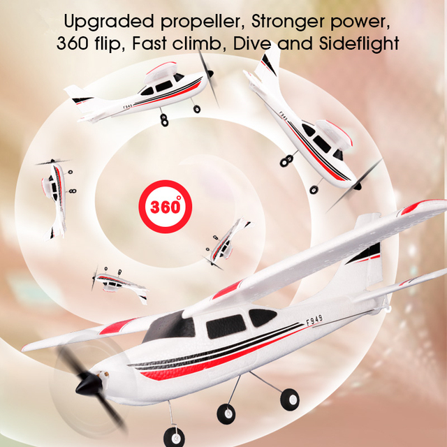 WLtoys F949 2.4G 3Ch RC Airplane Fixed Wing Plane Outdoor toys Drone RTF Upgrade version Digital servo propeller, with Gyroscope 3