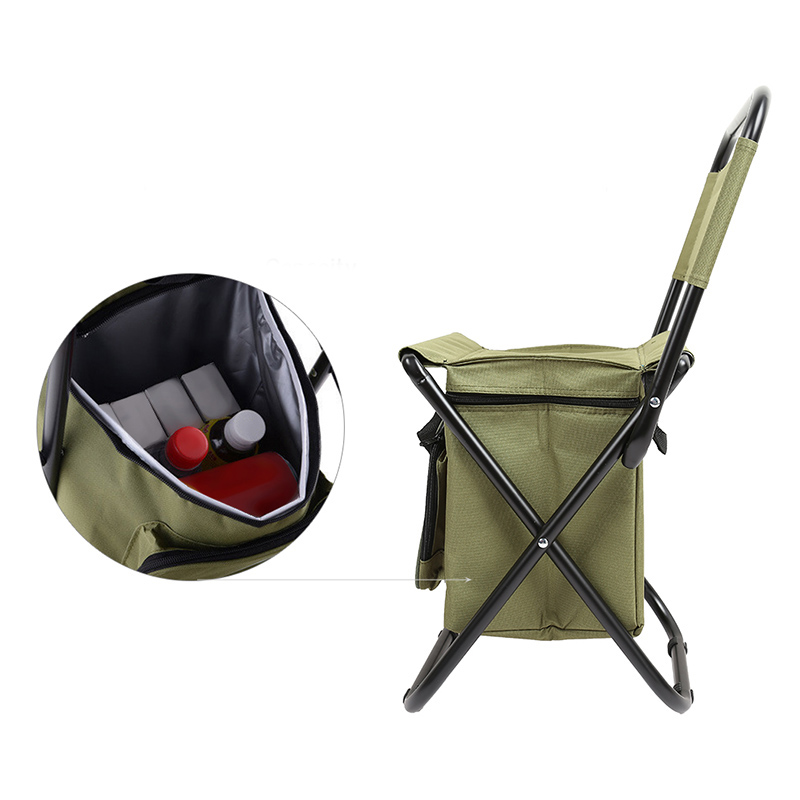 Folding Backrest Chair PVC Water Resistant Portable  Thermos Ice Bag Fishing Stool For Fishing Going Out Picnic Camping Travel