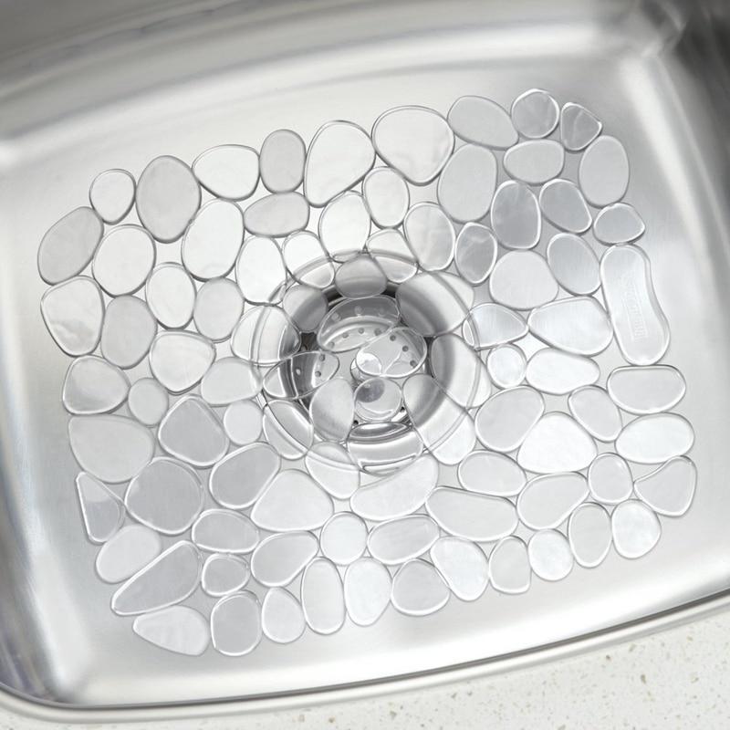 30*40 см регулируемая кухонная раковина, блюдо коврик для сушки мягкие Пластик протектора раковины галька дизайн протектора раковины прозрач...