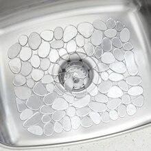 30*40cm Adjustable Kitchen Sink Dish Drying Mat Soft Plastic Sink Protector Pebble Design Sink Protector Transparent/Black