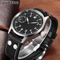 Mechanische Uhr Männer 44mm OUMASHI Luxus Pilot Military Stil Leuchtende Wasserdichte Geschäfts Seagull ST3600 Bewegung 6497