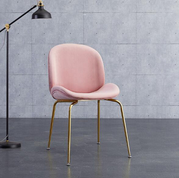 2pcs/lot Nordic iron chair coffee chair flannel luxury dining chair living room home leisure chair makeup chair стулья для кухни nordic iron dining chair modern minimalist dining chair leisure chair desk chair