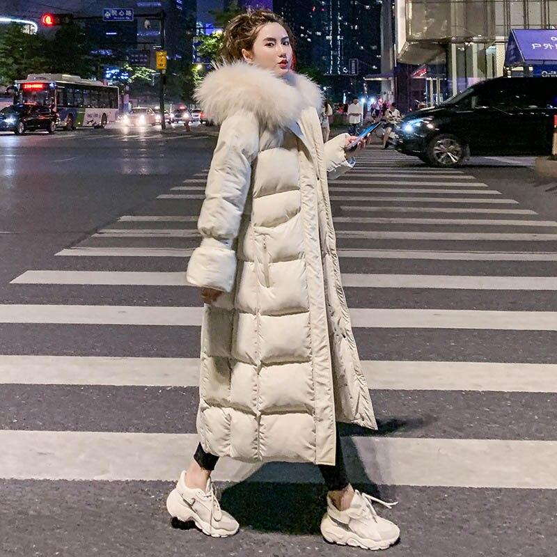 Winter Jacket Women New Hooded Women Down Coat Fur Collar Zippers Long Over The Knee Jacket Female Warm Winter Women Down Jacket