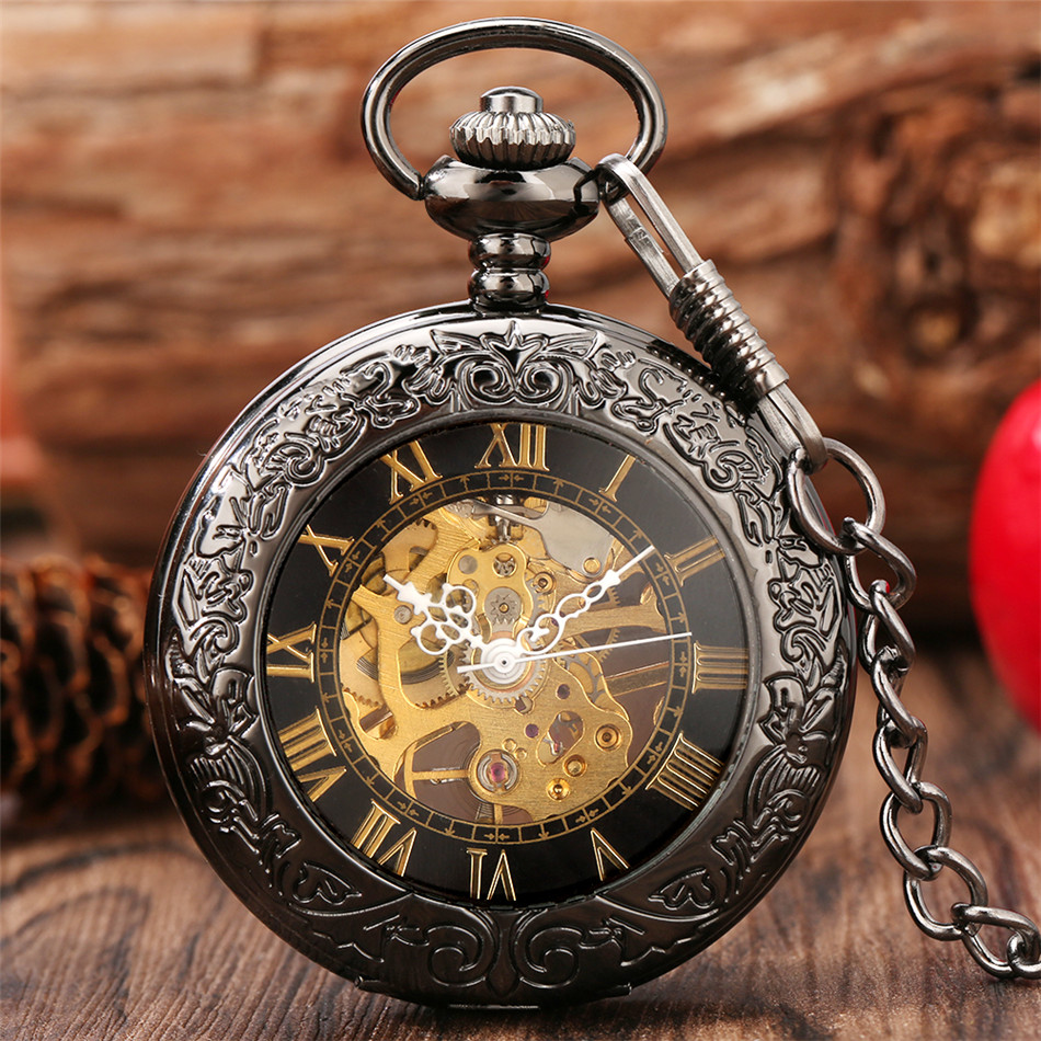 Gold Roman Numerals Display Transparent Glass Cover Mechanical Pocket Watch Antique Pendant Clock with 30 CM Black Fob Chain