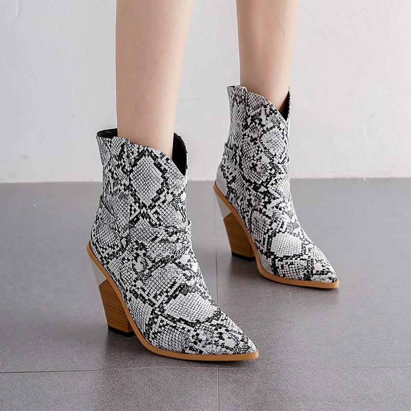 Women Short Ankle Boots Wedges High Heels Snake Print Pointed Toe Female Winter Short Plush Western Boots Shoes BT13