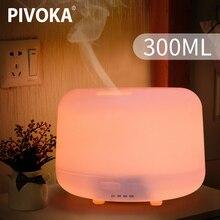 PIVOKA 300ml ultradźwiękowy nawilżacz powietrza do aromaterapii dyfuzor olejków eterycznych do domu Mist Maker rozpylacz zapachów Fogger LED Light