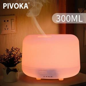 Image 1 - Pivoka 300 Ml Ultrasone Aromatherapie Luchtbevochtiger Etherische Olie Diffuser Voor Thuis Mist Maker Geurverspreider Rookmachine Led Licht