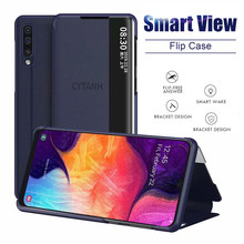 Luxury CLEAR View Flip สำหรับ Samsung A10 A20 S A50 A80 A51 A71Cover สำหรับ Samsung Note 8 9 10 Pro S8 S9 S10 PLUS(China)
